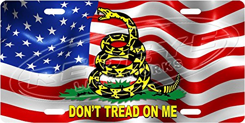 Dont-Tread-On-Me-American-Flag-License-Plate-Tag-from-Redeye-Laserworks