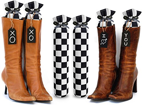 My Boot Trees, Boot Shaper Stands for Closet Organization. Many Patterns to Choose From. 1 Pair (Black and White - Boots To