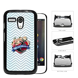Proud Navy Girlfriend with Red Heart & Pink Roses Black Anchor and Light Blue Chevron Pattern Motorola (Moto G) Hard Snap on Plastic Cell Phone Case Cover