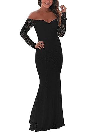 Cytree Damen Off Schulter Langarm Spitzenkleid Elegant Hochzeit Kleider  Langes Brautjungfer Abendkleid  Amazon.de  Bekleidung 880f942174