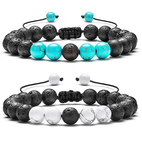 (Hamoery Men Women 8mm Lava Rock Aromatherapy Anxiety Essential Oil Diffuser Bracelet Adjustable Natural Stone Yoga Beads Bracelet Bangle(Set)