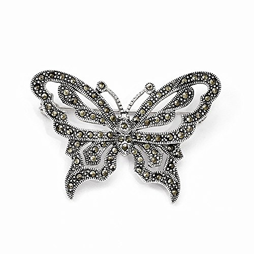 (Sterling Silver Marcasite Butterfly Pin)