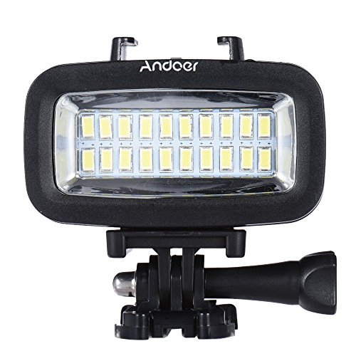 Andoer 700LM Diving Video Fill-in Light LED Lighting Lamp Waterproof 40M 1900mAh Built-in Rechargeable Battery with Diffuser for GoPro SJCAM Xiaomi Yi Sports Action Camera by Andoer