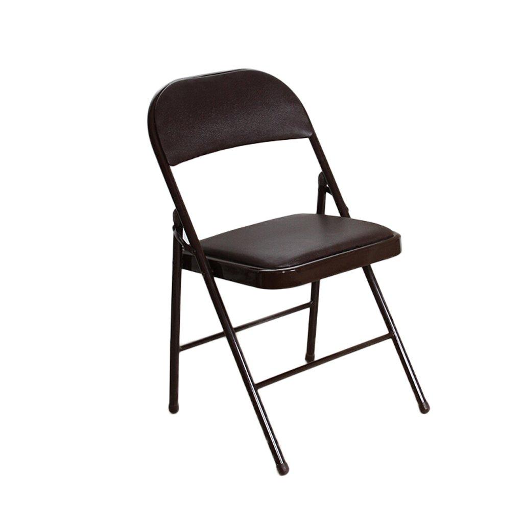 『2年保証』 GzH折りたたみ椅子家庭ダイニング椅子コンピュータソファーデスクオフィスチェア背もたれ付きレザースポンジパッド椅子 B07F19XRJY ブラウン ブラウン B07F19XRJY, 中外徽章株式会社:7cb38b27 --- ballyshannonshow.com