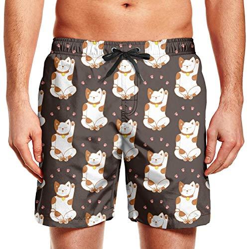 Microfiber Pants Resistant Water (Trendy Mens Beach Shorts Cute Lucky cat Claw Personalised Quick Dry Waterproof Microfiber Men's Home Pants Swimming Trunks Short)