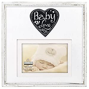 "Malden International Designs Rustic Woods Distressed White with Silkscreened ""Baby Love"" on Heart Attachment with Linen Mat Picture Frame, 4×6/5×7, White"