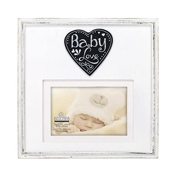 """Malden International Designs Rustic Woods Distressed White with Silkscreened """"Baby Love"""" on Heart Attachment with Linen Mat Picture Frame, 4×6/5×7, White"""