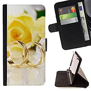 For Samsung Galaxy Note 4 IV,S-type Un par de anillos de oro- Dibujo PU billetera de cuero Funda Case Caso de la piel de la bolsa protectora