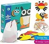 Creative Animal Geo Blocks Wooden Pattern Blocks Puzzles with 20 Designs for Preschool or Kindergarten Kids