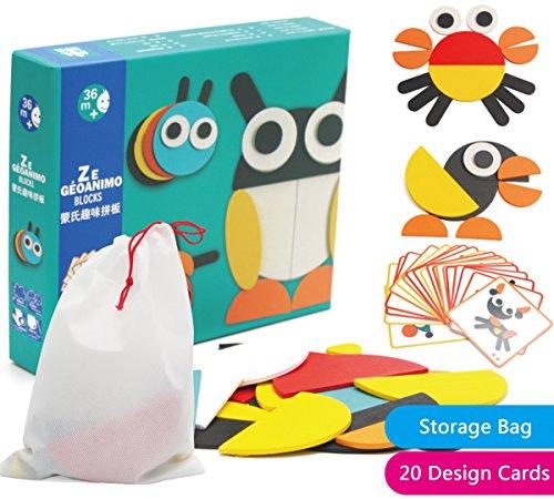 Creative Animal Geo Blocks Wooden Pattern Blocks Puzzles with 20 Designs for Preschool or Kindergarten Kids by RIKKO