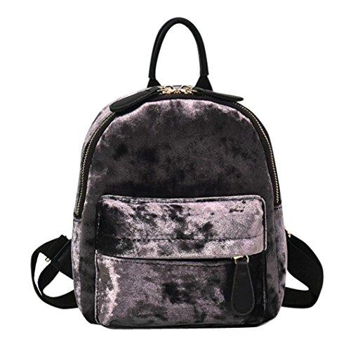 Bag Hunpta Rucksack Girl School Travel Velour Fashion Backpack Women Gray Backpack 4Hznpqq