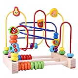 Wooden Toys, Beads Maze Roller Coaster Educational Toys for Toddlers, Baby Around Circle Bead Skill Improvement Wood Toys Birthday Gift for Boys & Girls