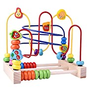 FUN LITTLE TOYS Wooden Beads Maze Roller Coaster Educational Toys for Toddler Kids Baby, Around Circle Bead Skill Improvement Wood Toys