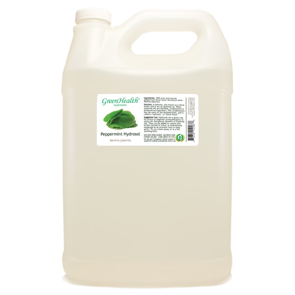Peppermint Hydrosol (Floral Water) - 1 Gallon Plastic Jug w/Cap - 100% pure by GreenHealth