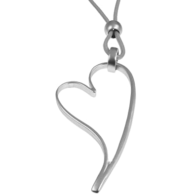 712ad9651d34 Unique Gifts On The Web Lagenlook Matte Silver Colour Large Open Heart  Pendant Grey Leather Long Necklace  Amazon.co.uk  Jewellery