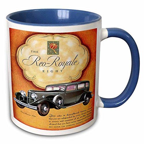 (3dRose BLN Vintage Automobiles and Racing - Vintage The Reo-Royale Eight Reo Motor Car Company Advertising Poster - 15oz Two-Tone Blue Mug (mug_126339_11))