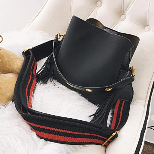 tote Black wide Female Tidal Bag bucket crossbody bag bag ERLINGSAN XKB band bag Shoulder aCwqqv