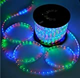 Grandey 32FT 50FT 65FT 98FT 150FT 295FT 2 Wire LED Rope Light Indoor Outdoor Home Holiday Valentines Party Restaurant Cafe Decor GRL-50-CW LED Rope Light (295FT, RGB)