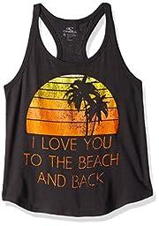 O\'Neill Big Girls\' Sunset Beach Tank, Washed Black, 7/S