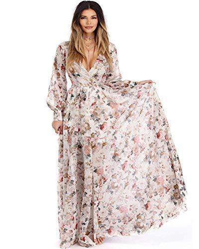 ZAFUL Women Vintage Floral Long Sleeve Dress Bohemian Chiffon Wrap Boho Maxi Dresses-White,L