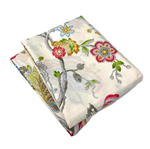 (Tache Cream Multi Colorful Floral Pillowcase - Quiet Morning Garden - Cotton Luxurious Decorative Standard/Queen 20x30 Pillow Case - 2 Piece Set)