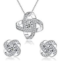 Joyfulshine Women Necklace 925 Sterling Silver Zirconia Crystal Eternity Earrings and Pendant Necklace Jewelry set