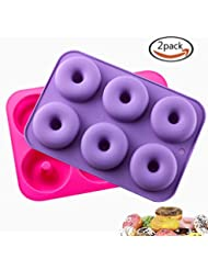 KLEMOO 2-Pack Donut Baking Pan, Silicone, Non-Stick Mold, Bake Full Size Perfect Shaped Doughnuts to Sweeten Your Hole Day
