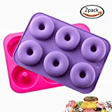 ": KLEMOO 2-Pack Donut Baking Pan, Silicone, Non-Stick Mold, Bake Full Size Perfect Shaped Doughnuts to Sweeten Your ""Hole"" Day"