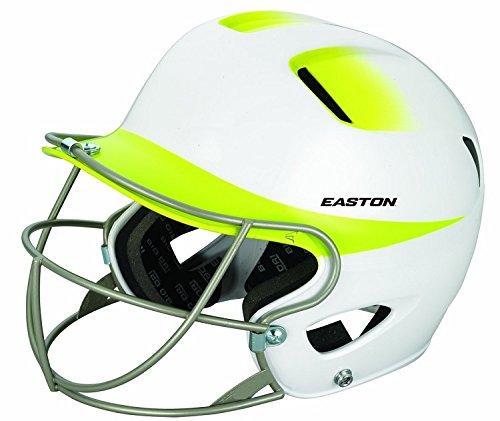 Easton Senior Natural 2Tone Batting Helmet with Softball Mask, White/Yellow