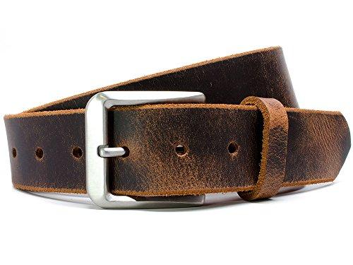 Mt. Pisgah Titanium Distressed Belt - Nickel Smart - Brown Genuine Full Grain Leather Belt with Nickel Free Titanium Buckle - 40