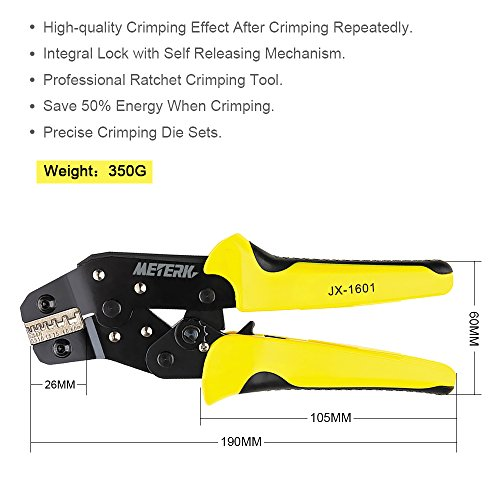 Meterk Crimping Tool Wire Crimpers With Carbon Steel Support 0.1-6mm² Adjustable Crimping Range Comfort Grip Terminals Connectors Ratcheting by Meterk (Image #3)