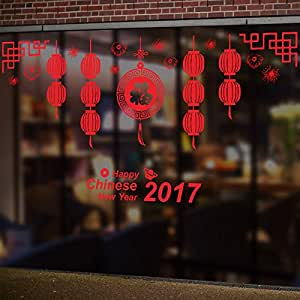 Chinese Spring Festival Glass DIY Wall Decoration Chinese ...