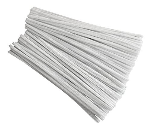 50 White Pipe Cleaners 6mm x 30cm by Kids B Crafty