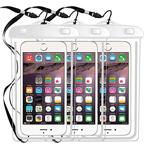 3 Pack IPX8 Universal Waterproof Case Compatible with iPhone X XS MAX XR/8/8plus 7/6plus,Galaxy S9 s8/s8plus/s7 Smartphone Diagonal to 6