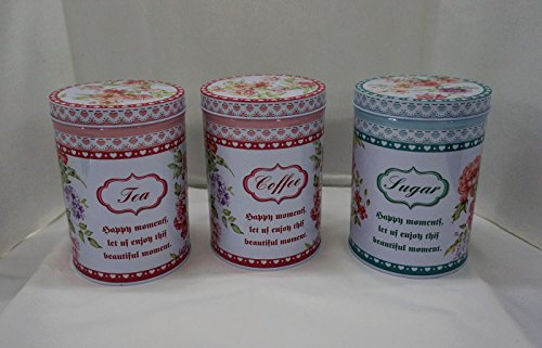 Beautiful Tea, Coffee, and Sugar Storage Canisters Set, Shabby Chic, with Set of 3