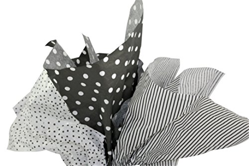 Premium Gift Wrap Tissue Paper, 20 Sheets Each of 3 Coordinating Colors (Black & White Dot/Pinstripe/Speckle)