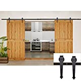 Coocheer 12FT Black Modern/Rustic Style Barn Wood Steel Double Sliding Door Hardware Closet Set