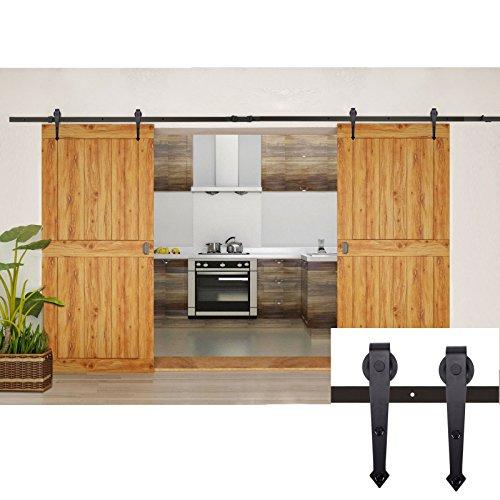 Coocheer 12FT Black Modern/Rustic Style Barn Wood Steel Double Sliding Door Hardware Closet Set by COOCHEER