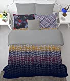 SPACES Youthopia Blue And Grey 180 TC Cotton Single Bed sheet With 2 Pillow Cover