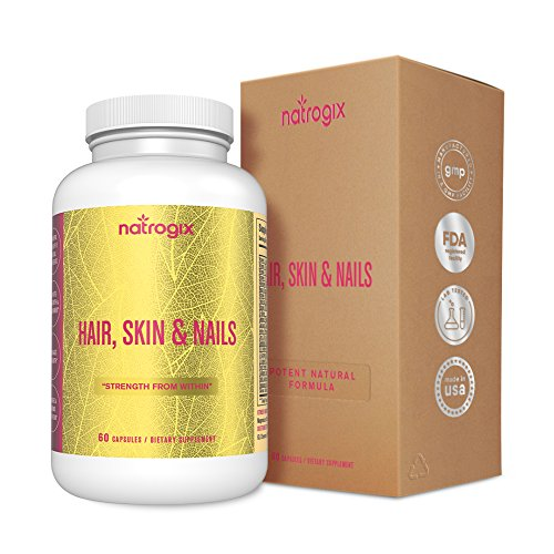Natrogix Bounty Hair Growth, Glowing Skin and Strong Nails Support Dietary Supplement - 100% Organic Vitamins with 7500mcg Biotin/ Serving - 60 Veggie Capsules