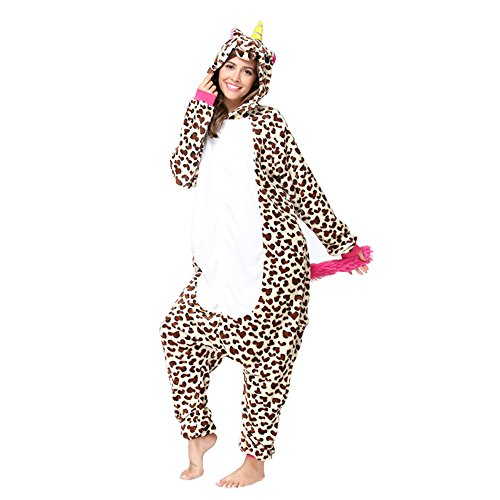 Christmas Adults Unisex Animal Flannel Unicorn Onesie Pajamas Cosplay Costume(S,Leopard Unicorn)