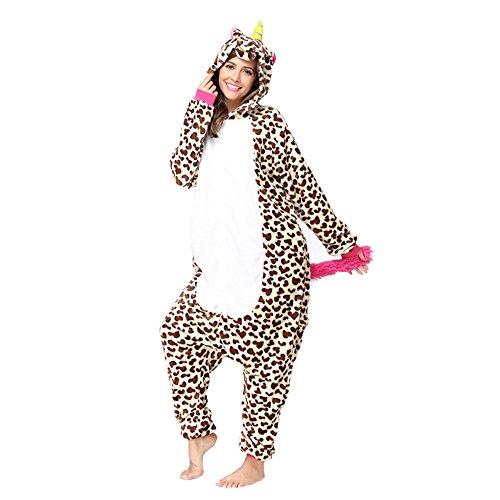 Christmas Adults Unisex Animal Flannel Unicorn Onesie Pajamas Cosplay Costume(S,Leopard -