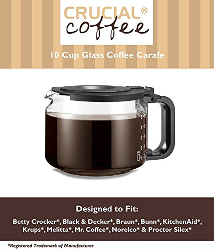 Universal Fit 10 Cup Glass Coffee Carafe, Fits Black & Decker DCM 90WH, Braun Aromaster, Bunn A10, GRX, Mr. Coffee AD10, ACM10 & Many More, Compare to Part # GL210 ()