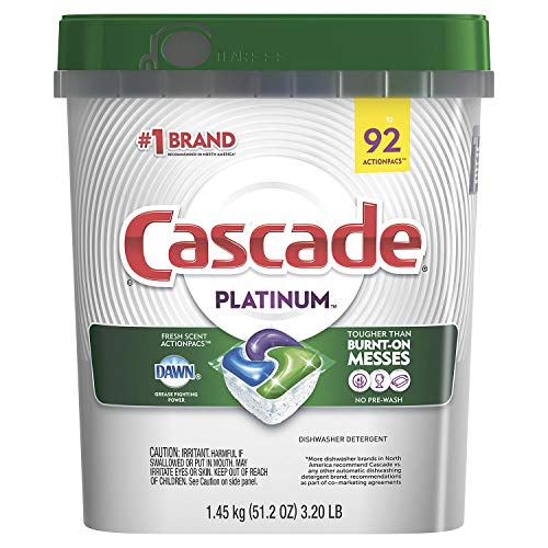 Cascade Platinum Dishwasher Detergent, 16x Strength With Dawn Grease Fighting Power, Fresh Scent (92 Count) (Cascade Premium)