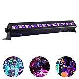 Viugreum 12X3W UV LED Blacklight UV LED Bar Black Lights Fixture for Neon Clow Parties Fluorescent Tapestry Poster Paint Lighting DJ Stage - Metalic Black (36W)