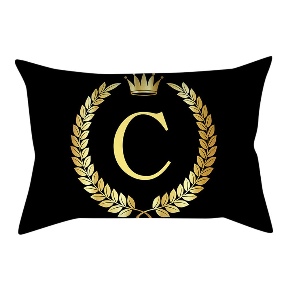 Pillows Decorative Throw Pillows, PASHY Pillow Cover Black and Gold Letter Pillowcase Sofa Cushion Cover Home Decoration
