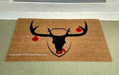 Christmas Reindeer Trophy Holiday Seasonal Coir Doormat, Size Large - Welcome Mat - Doormat - Custom Hand Painted Doormat by Killer Doormats