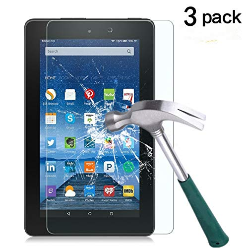 Fire 7 Screen Protector,TANTEK Anti Scratch,Bubble Free,Tempered Glass Screen Protector for Amazon Fire 7-inch Tablet(5th Generation),[3-Pack]