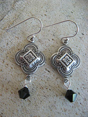 Vintage Style Jet Black Swarovski Crystal Mixed Metals Sterling Silver Earrings Artisan - Jet Swarovski Vintage