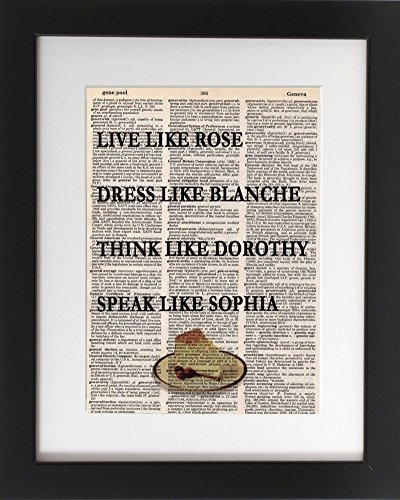 Cheesecake, Live Dress Think Speak - Upcycled Dictionary Art Print 8x10. - UNFRAMED - Frame and matting are for presentation purposes only to show you how they can ()